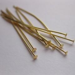 50mm guldbelagte perlestave med fladt hovede, 20 stk