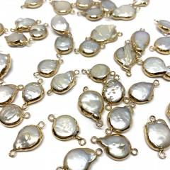 Barok ferskvandsperle link, guld