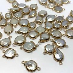 Barok ferskvandsperle link, guld oval