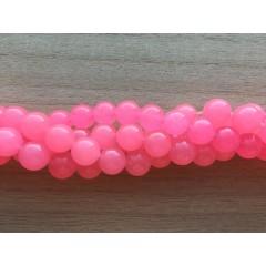 Farvet jade, hot pink rund 10mm, hel streng