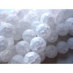 Krakkeleret krystal, mat rund 6mm, hel streng