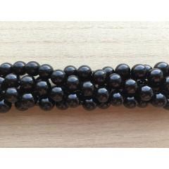Onyx, blank sort rund 10mm, hel streng