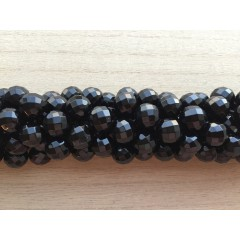 Onyx, sort facetslebet rund 12mm (64 facetter), hel streng