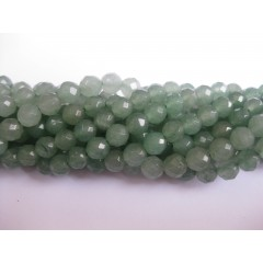 Grøn aventurin, facetslebet rund 6mm (128 facetter), hel streng