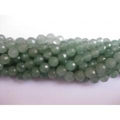 Grøn aventurin, facetslebet rund 6mm (64 facetter), hel streng