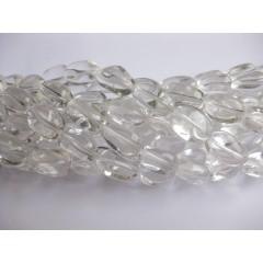 Bjerg krystal, polerede nuggets 13x18mm, hel streng