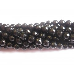 Onyx, sort facetslebet rund 6mm (64 facetter), hel streng