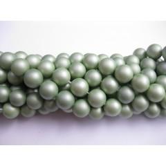 Frosted shell pearl, støvet lys grøn 10mm, hel streng
