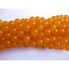 Orange jade, rund 14mm, hel streng