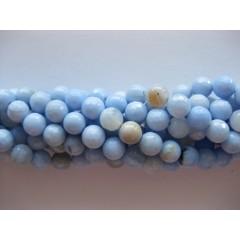 Lys blå agat, facetslebet rund 8mm
