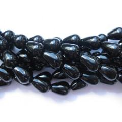Onyx, sorte runde dråber 10x14mm, hel streng
