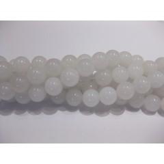 Farvet jade, hvid rund 12mm, hel streng
