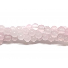 Farvet jade, lys pink rund 8mm, hel streng