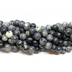 Black veined jaspis, rund 10mm, hel streng