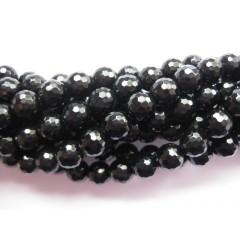 Onyx, sort facetslebet rund 10mm (128 facetter), hel streng