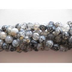 Krakkeleret grå agat, facetslebet rund 10mm, hel streng