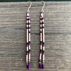 Øreringe på silkesnor, lilla, lyserød, sort og sølv
