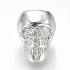 Skull perle med zirkoner, platin belagt 11,5x9,5mm