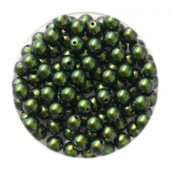 Swarovski® crystal pearl, 4mm rund, Scarabaeus Green, 10 stk
