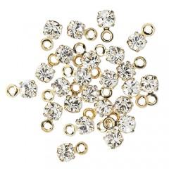 Swarovski crystal, 3-3,2mm guld vedhæng, crystal clear, 1 stk