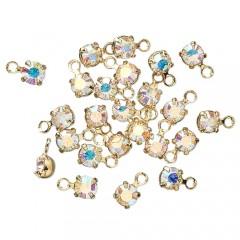 Swarovski crystal, 3-3,2mm guld vedhæng, crystal AB, 1 stk