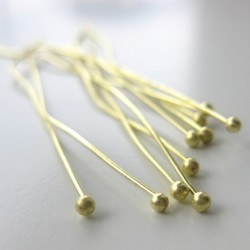 50mm forgyldte perlestave med 2mm hovede
