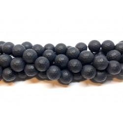 Sort agat, mat facetslebet rund 12mm, hel streng