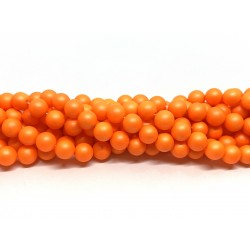 Frosted shell pearl, neon orange 8mm, hel streng