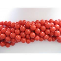 Shell pearl, tomat rød 10mm, hel streng