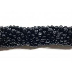 Sort agat, facetslebet rund 6mm (64 facetter), hel streng