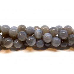Grå agat, rund 16mm, hel streng
