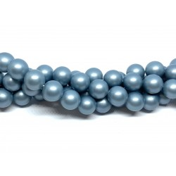 Frosted shell pearl, lys cyan 10mm, hel streng