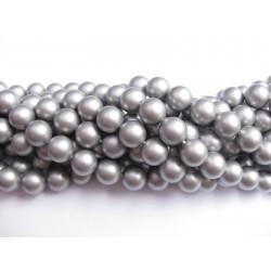 Frosted shell pearl, sølv-grå 8mm, hel streng