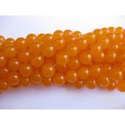 Orange jade, rund 12mm, hel streng