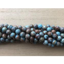 Blå efterårs jaspis, rund 6mm, hel streng