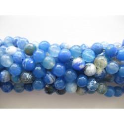 Sky blå ild agat, facetslebet rund 10mm, hel streng