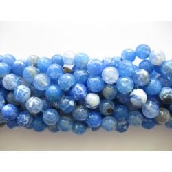 Sky blå ild agat, facetslebet rund 12mm, hel streng