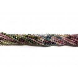 Multifarvet turmalin farvesorteret, facetslebet rund 3mm, hel streng