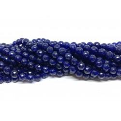 Lapis blå jade, facetslebet rund 6mm, hel streng