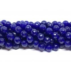 Lapis blå jade, facetslebet rund 8mm, hel streng
