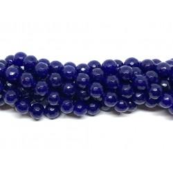 Lapis blå jade, facetslebet rund 10mm, hel streng