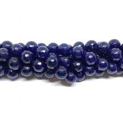 Lapis blå jade, facetslebet rund 12mm, hel streng