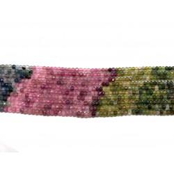 Multifarvet turmalin farvesorteret, facetslebne rondeller 2x3mm, hel streng