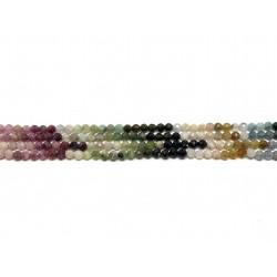 Multifarvet turmalin farvesorteret, facetslebet rund 4mm, hel streng
