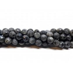 Larvikit, facetslebet rund 8mm (128 facetter), hel streng