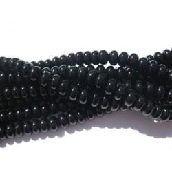 Onyx, sorte glatte rondeller 5x8mm, hel streng