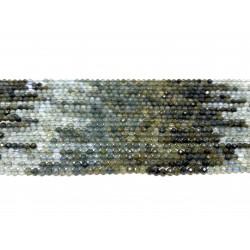 Blå turmalin, facetslebet rund 3mm, hel streng