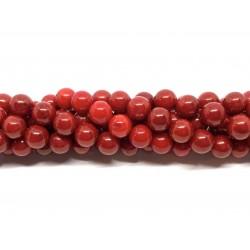 Rød koral, rund 8mm, hel streng
