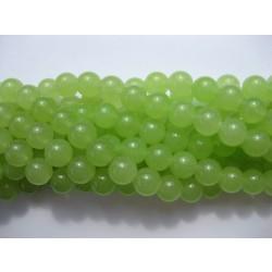 Farvet jade, lys lime grøn rund 8mm, hel streng