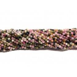 Multifarvet turmalin, facetslebet rund 3mm (lille 3mm), hel streng